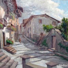 Arte: FRANCISCO CARBONELL MASSABE (1928) OLEO SOBRE TELA. CARRER DEL FOSSAR (RUPIT). Lote 242032655
