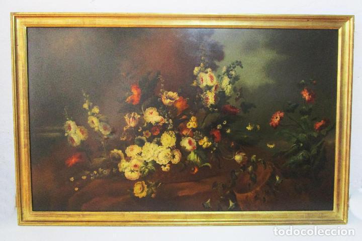 BESTIAL CUADRO PINTURA OLEO BODEGON FLORAL ANTIGUO 161X100CM CIRCA 1800 (Arte - Pintura - Pintura al Óleo Antigua siglo XVIII)