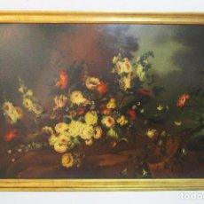 Arte: BESTIAL CUADRO PINTURA OLEO BODEGON FLORAL ANTIGUO 161X100CM CIRCA 1800. Lote 242111140