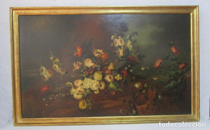Arte: BESTIAL CUADRO PINTURA OLEO BODEGON FLORAL ANTIGUO 161X100CM circa 1800 - Foto 2 - 242111140