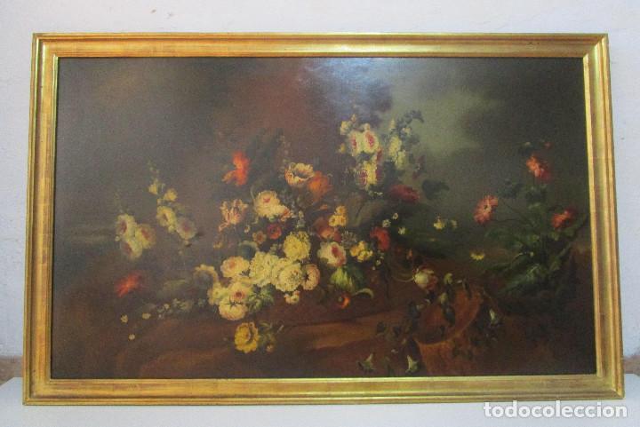 Arte: BESTIAL CUADRO PINTURA OLEO BODEGON FLORAL ANTIGUO 161X100CM circa 1800 - Foto 3 - 242111140