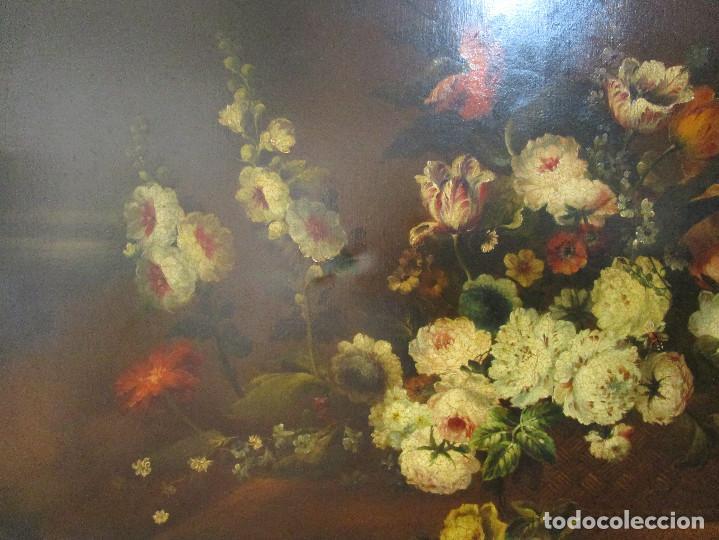 Arte: BESTIAL CUADRO PINTURA OLEO BODEGON FLORAL ANTIGUO 161X100CM circa 1800 - Foto 5 - 242111140
