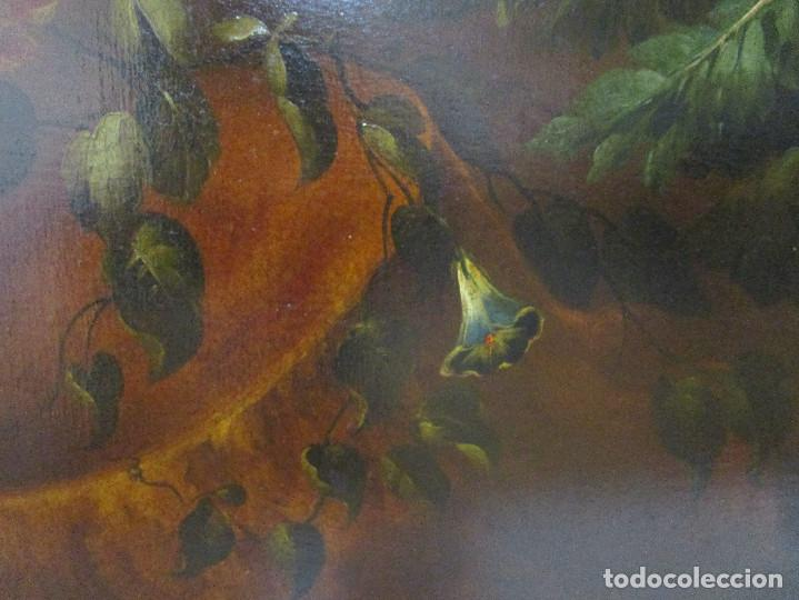 Arte: BESTIAL CUADRO PINTURA OLEO BODEGON FLORAL ANTIGUO 161X100CM circa 1800 - Foto 6 - 242111140