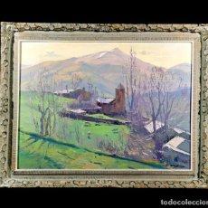 Arte: ÓLEO SOBRE TABLA - ISIDRE ÒDENA DAURA - LOCALIZADO: VENTOLÀ (VALL DE NÚRIA) - GRANDE - 82 X 61 CM. Lote 242208755