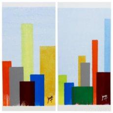 Arte: JOANE DO CRISTO. SKYLINE. CONJUNTO 2 PIEZAS, 2X (50X30). Lote 242414350