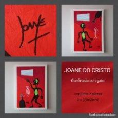 Arte: JOANE DO CRISTO. CONFINADO CON GATO. CONJUNTO 2 PIEZAS, 2X (70X50). Lote 242427440