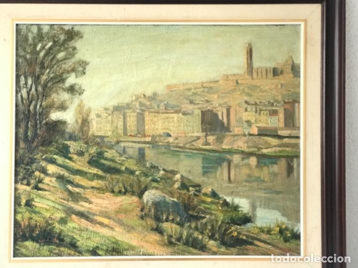 VISTA DE LA CIUDAD DE LLEIDA. OLEO SOBRE TABLEX FIRMADO. 1950'S. (Arte - Pintura - Pintura al Óleo Contemporánea )