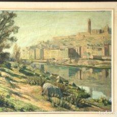 Arte: VISTA DE LA CIUDAD DE LLEIDA. OLEO SOBRE TABLEX FIRMADO. 1950'S.. Lote 242938080