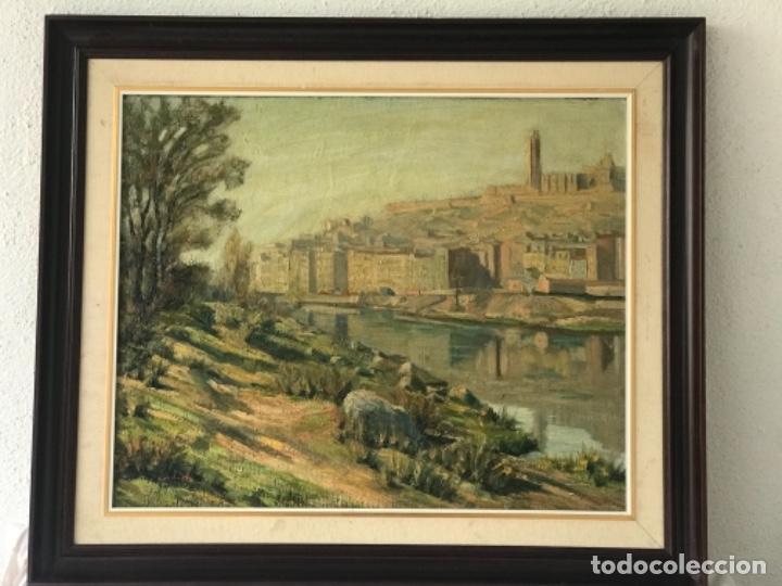 Arte: VISTA DE LA CIUDAD DE LLEIDA. OLEO SOBRE TABLEX FIRMADO. 1950'S. - Foto 2 - 242938080