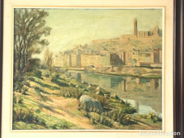 Arte: VISTA DE LA CIUDAD DE LLEIDA. OLEO SOBRE TABLEX FIRMADO. 1950'S. - Foto 3 - 242938080