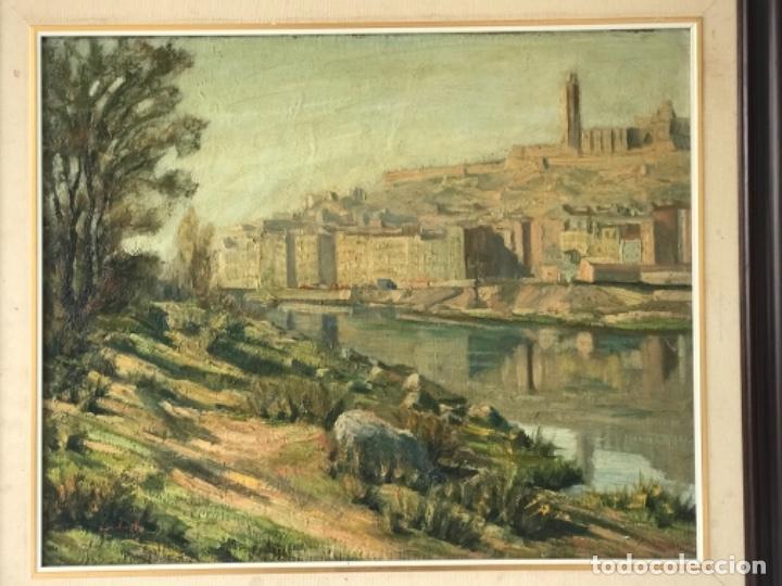 Arte: VISTA DE LA CIUDAD DE LLEIDA. OLEO SOBRE TABLEX FIRMADO. 1950'S. - Foto 8 - 242938080