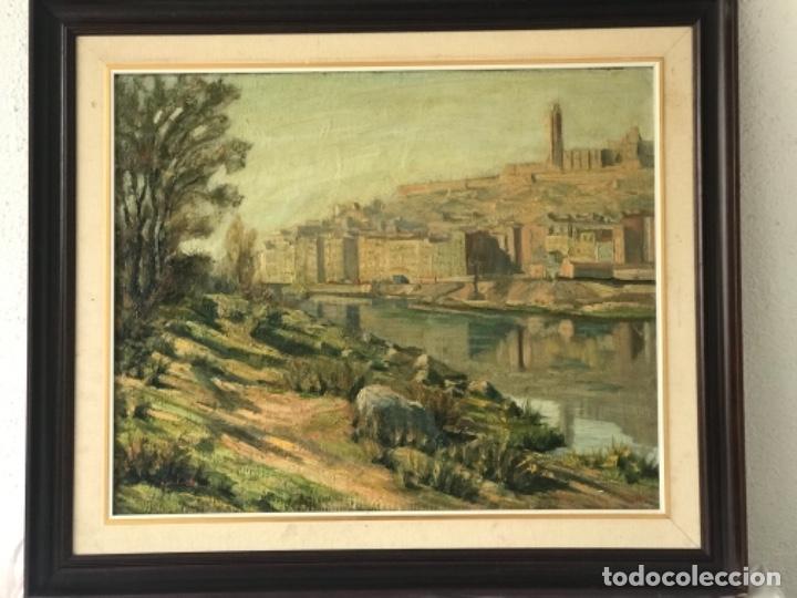 Arte: VISTA DE LA CIUDAD DE LLEIDA. OLEO SOBRE TABLEX FIRMADO. 1950'S. - Foto 9 - 242938080