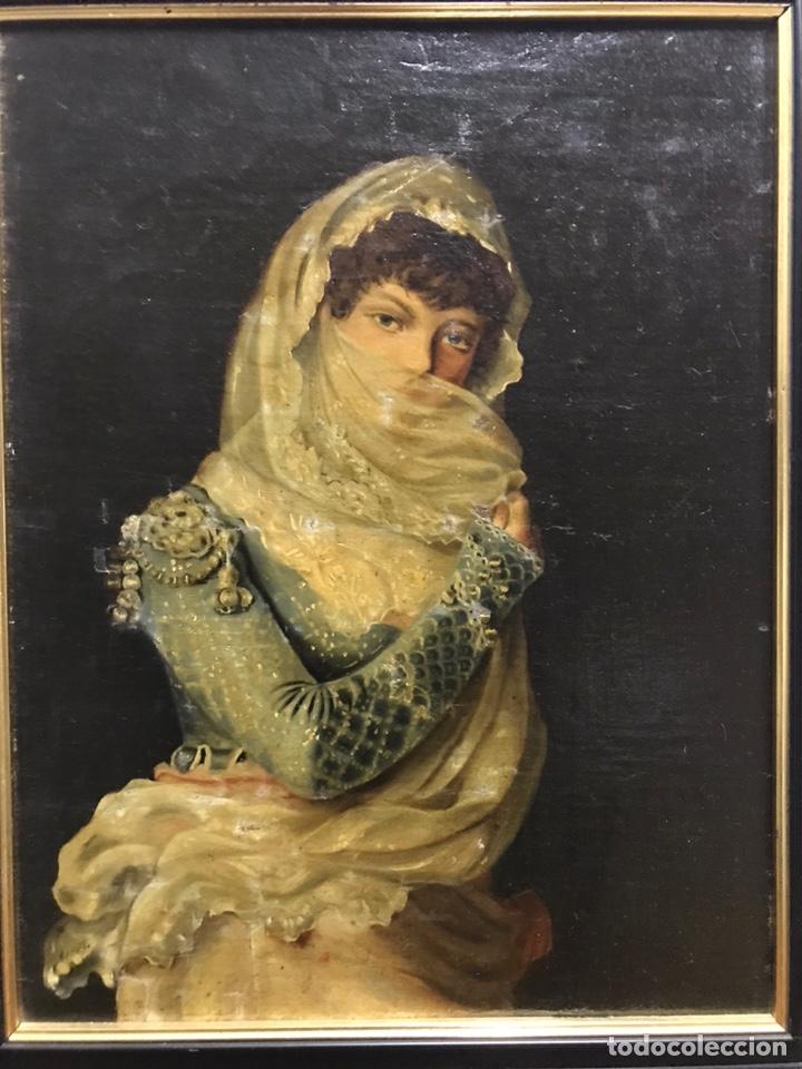 Arte: Antiguo retrato al óleo restaurado rentelado - Foto 2 - 243002355