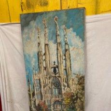 Arte: ANTIGUO CUADRO OLEO LIENZO,SAGRADA FAMILIA!. Lote 243017140
