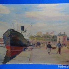 Arte: ÓLEO SOBRE TELA PEGADO A TABLEX DE ISIDRE ODENA I DAURA.PUERTO DE BARCELONA 1933. Lote 243043480