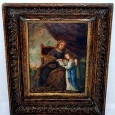 Arte: SANTA ANA Y LA VIRGEN MARIA,OLEO SOBRE COBRE ENMARCADO,S. XVIII. Lote 243303430