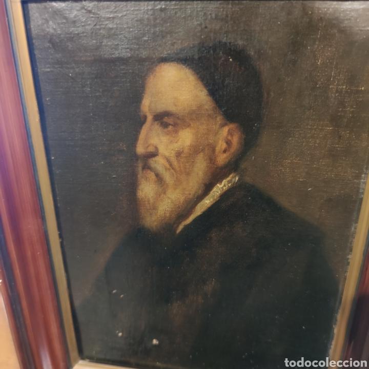 Arte: MUY INTERESANTE AUTORRETRATO DE TIZIANO - MUSEO DEL PRADO - SIGLO XVIII-XIX - OLEO SOBRE LIENZO - - Foto 7 - 100261555