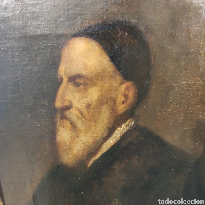 Arte: MUY INTERESANTE AUTORRETRATO DE TIZIANO - MUSEO DEL PRADO - SIGLO XVIII-XIX - OLEO SOBRE LIENZO - - Foto 8 - 100261555