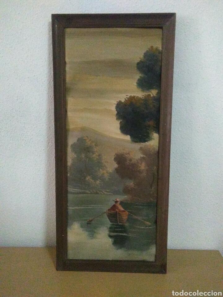 Arte: Pintura oleo sobre lienzo ,bonita composicion mitad siglo XX ,paseo por el lago , - Foto 2 - 243339185