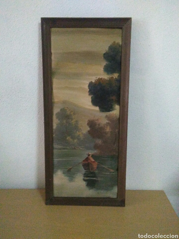 Arte: Pintura oleo sobre lienzo ,bonita composicion mitad siglo XX ,paseo por el lago , - Foto 3 - 243339185