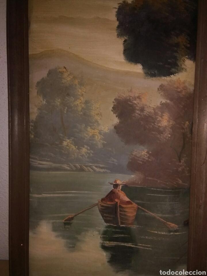 Arte: Pintura oleo sobre lienzo ,bonita composicion mitad siglo XX ,paseo por el lago , - Foto 5 - 243339185