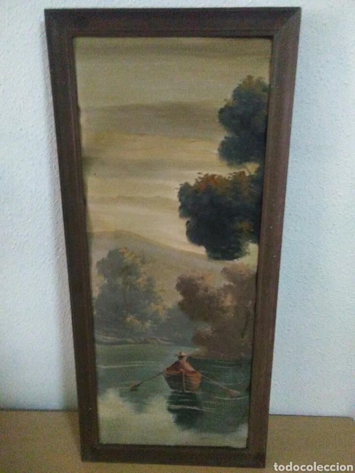 Arte: Pintura oleo sobre lienzo ,bonita composicion mitad siglo XX ,paseo por el lago , - Foto 6 - 243339185