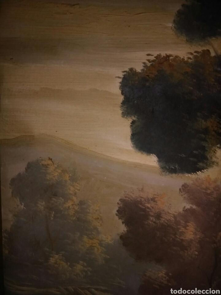 Arte: Pintura oleo sobre lienzo ,bonita composicion mitad siglo XX ,paseo por el lago , - Foto 7 - 243339185
