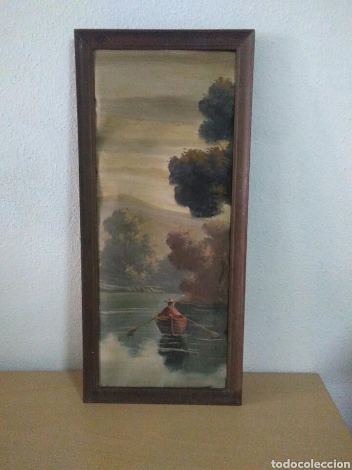 Arte: Pintura oleo sobre lienzo ,bonita composicion mitad siglo XX ,paseo por el lago , - Foto 8 - 243339185