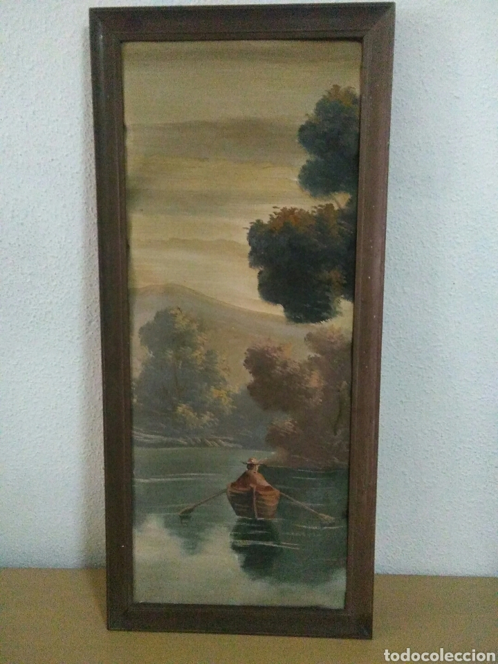 Arte: Pintura oleo sobre lienzo ,bonita composicion mitad siglo XX ,paseo por el lago , - Foto 9 - 243339185