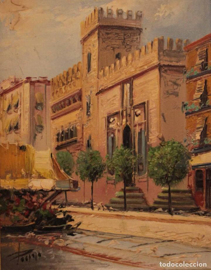 OLEO SOBRE LIENZO, ESCUELA VALENCIANA, FIRMA ILEGIBLE. VISTA DE VALENCIA. ENMARCADO 38X33CM (Arte - Pintura - Pintura al Óleo Contemporánea )