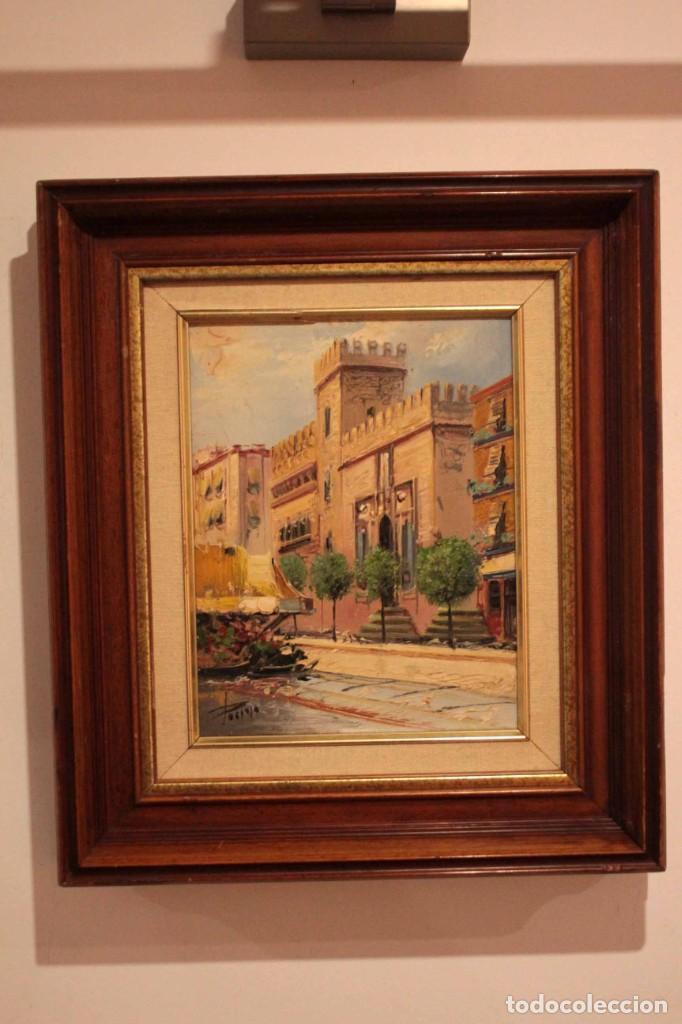 Arte: Oleo sobre lienzo, escuela valenciana, firma ilegible. Vista de Valencia. Enmarcado 38x33cm - Foto 2 - 243379760