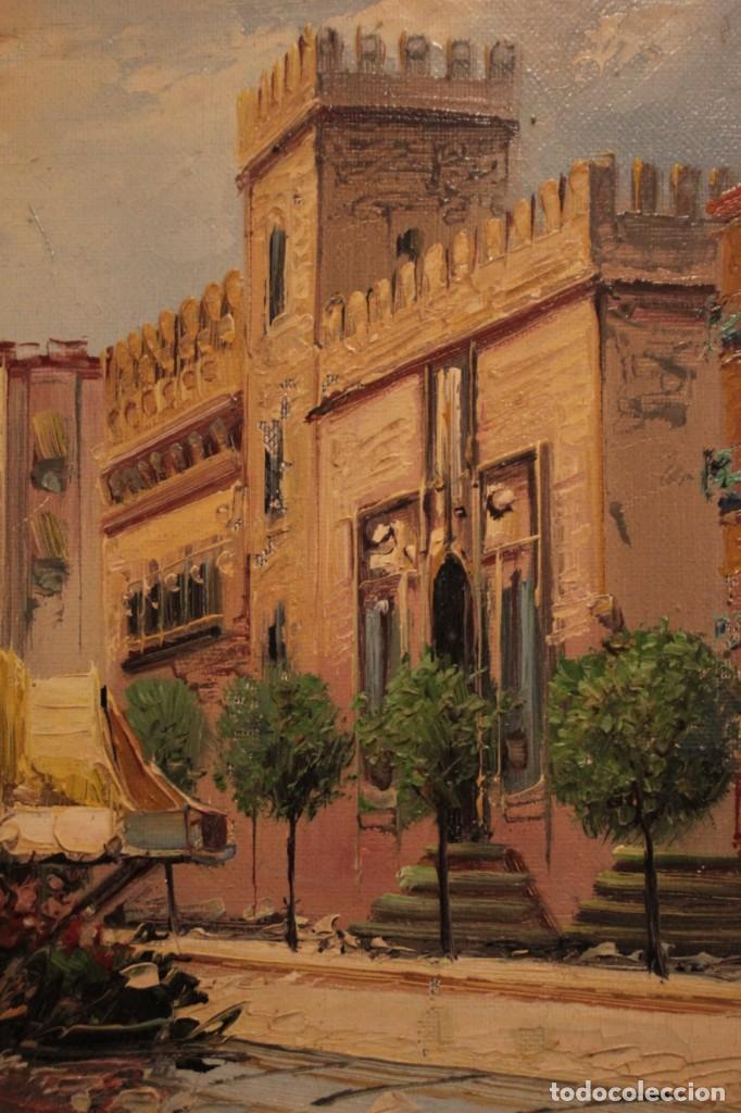 Arte: Oleo sobre lienzo, escuela valenciana, firma ilegible. Vista de Valencia. Enmarcado 38x33cm - Foto 3 - 243379760