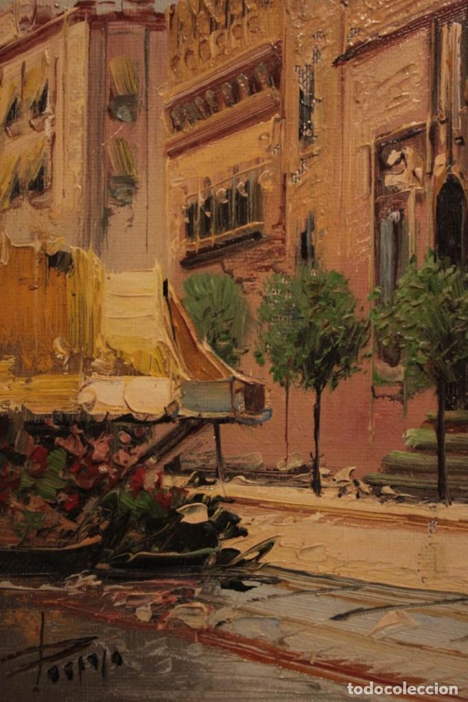 Arte: Oleo sobre lienzo, escuela valenciana, firma ilegible. Vista de Valencia. Enmarcado 38x33cm - Foto 4 - 243379760