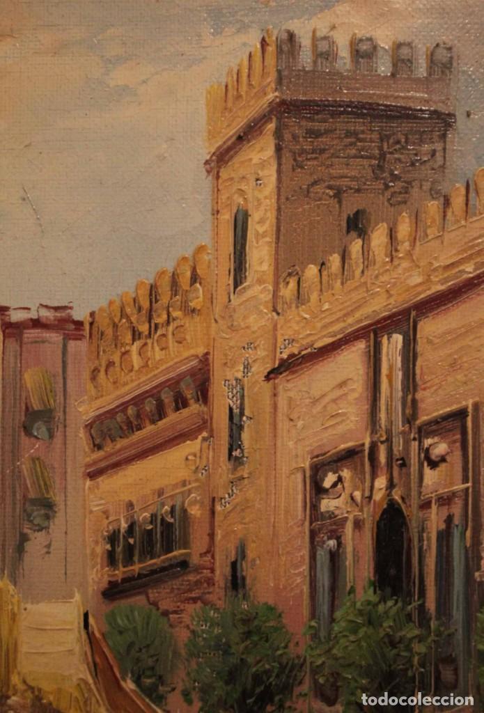 Arte: Oleo sobre lienzo, escuela valenciana, firma ilegible. Vista de Valencia. Enmarcado 38x33cm - Foto 5 - 243379760