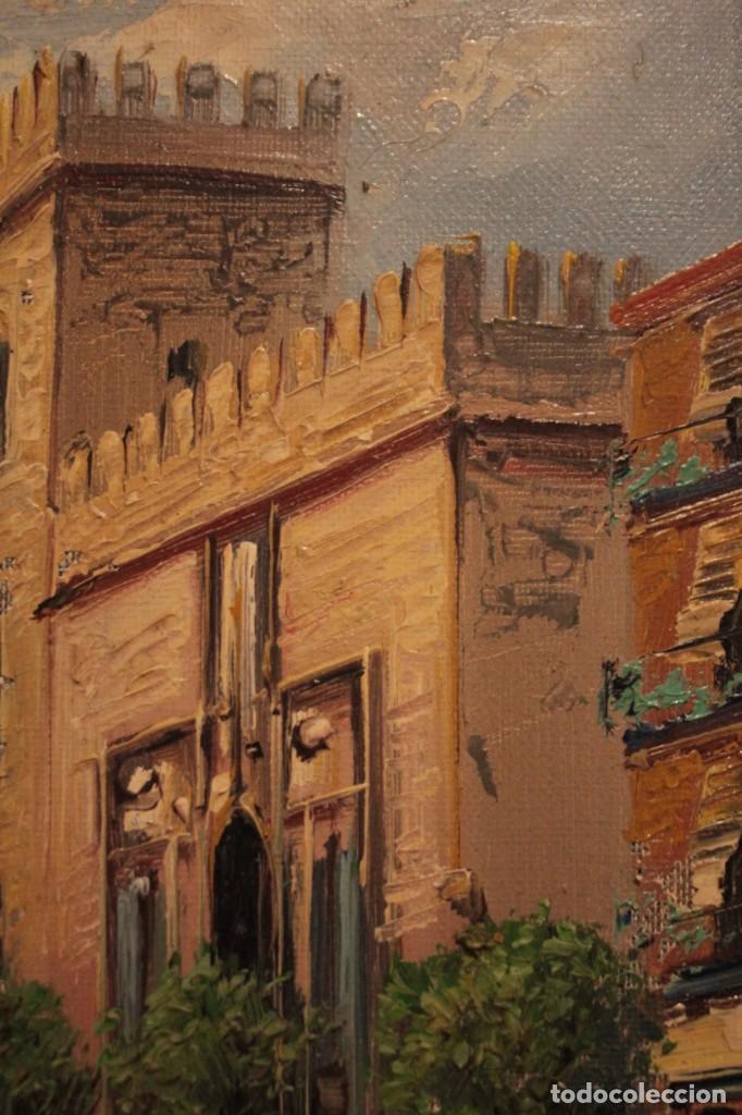 Arte: Oleo sobre lienzo, escuela valenciana, firma ilegible. Vista de Valencia. Enmarcado 38x33cm - Foto 6 - 243379760