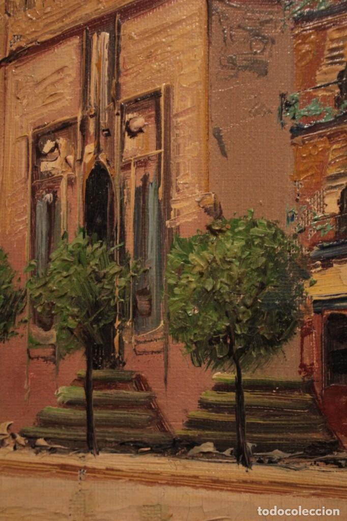 Arte: Oleo sobre lienzo, escuela valenciana, firma ilegible. Vista de Valencia. Enmarcado 38x33cm - Foto 7 - 243379760