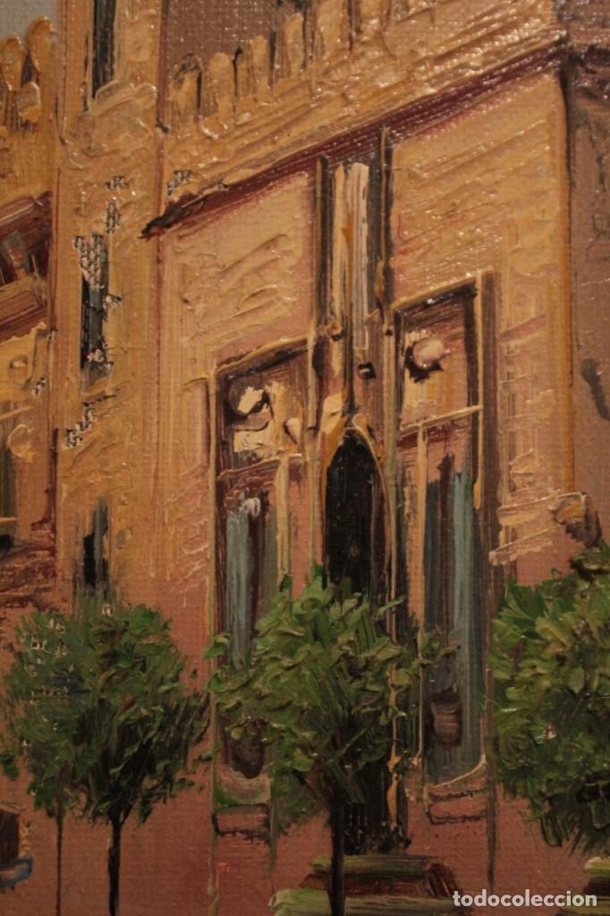 Arte: Oleo sobre lienzo, escuela valenciana, firma ilegible. Vista de Valencia. Enmarcado 38x33cm - Foto 8 - 243379760