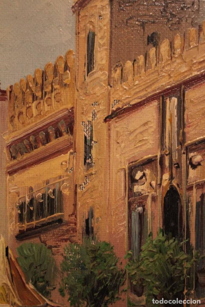 Arte: Oleo sobre lienzo, escuela valenciana, firma ilegible. Vista de Valencia. Enmarcado 38x33cm - Foto 9 - 243379760