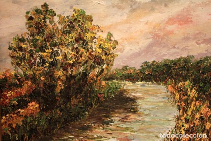 Arte: Paisaje con rio. Oleo sobre panel. Escuela españolla s.XX. Enmarcado 50x41cm - Foto 3 - 243380105