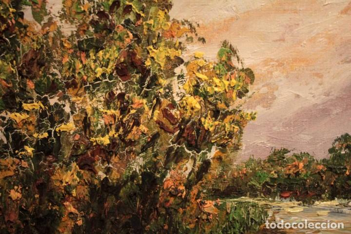 Arte: Paisaje con rio. Oleo sobre panel. Escuela españolla s.XX. Enmarcado 50x41cm - Foto 5 - 243380105