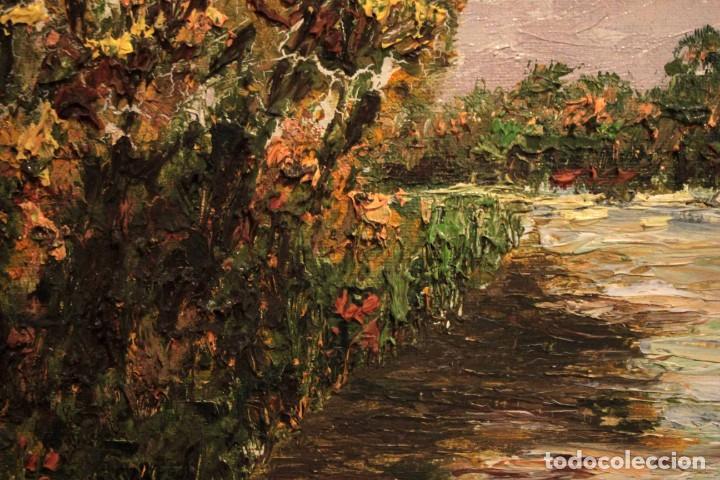Arte: Paisaje con rio. Oleo sobre panel. Escuela españolla s.XX. Enmarcado 50x41cm - Foto 6 - 243380105