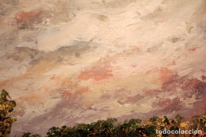 Arte: Paisaje con rio. Oleo sobre panel. Escuela españolla s.XX. Enmarcado 50x41cm - Foto 9 - 243380105