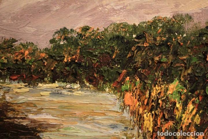 Arte: Paisaje con rio. Oleo sobre panel. Escuela españolla s.XX. Enmarcado 50x41cm - Foto 11 - 243380105