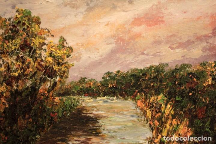 Arte: Paisaje con rio. Oleo sobre panel. Escuela españolla s.XX. Enmarcado 50x41cm - Foto 12 - 243380105