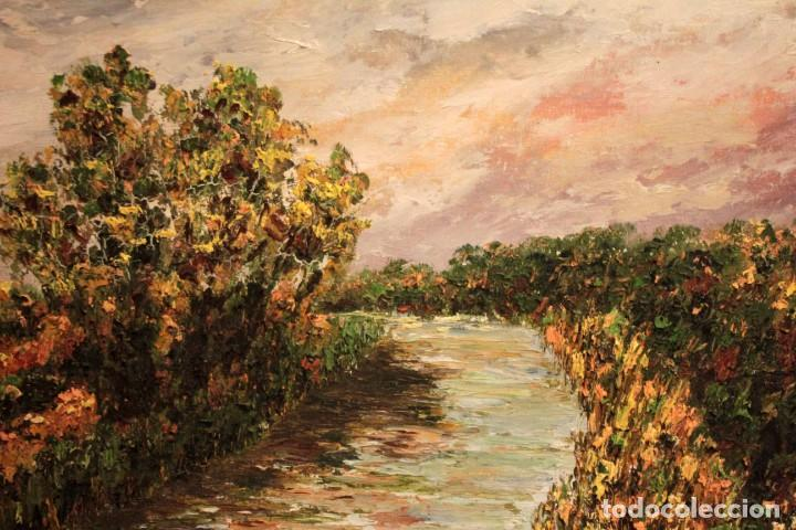 Arte: Paisaje con rio. Oleo sobre panel. Escuela españolla s.XX. Enmarcado 50x41cm - Foto 13 - 243380105