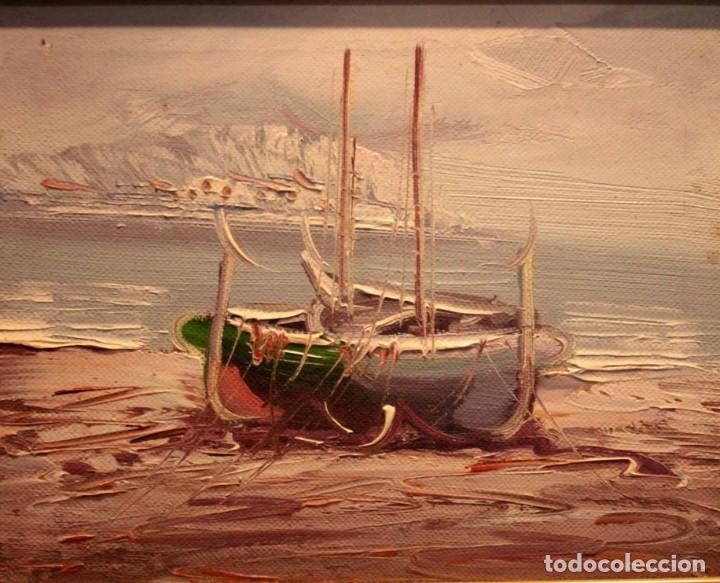 OLEO SOBRE LIENZO, ESCUELA VALENCIANA. BARCAS EN EL MAR. ENMARCADO 34X28CM (Arte - Pintura - Pintura al Óleo Contemporánea )