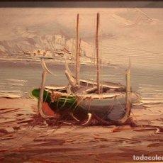 Arte: OLEO SOBRE LIENZO, ESCUELA VALENCIANA. BARCAS EN EL MAR. ENMARCADO 34X28CM. Lote 243380900