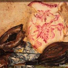 Arte: BODEGÓN PINTADO AL OLEO SOBRE LIENZO. FIRMA ILEGIBLE. ENMARCADO 37X50CM. Lote 243381390