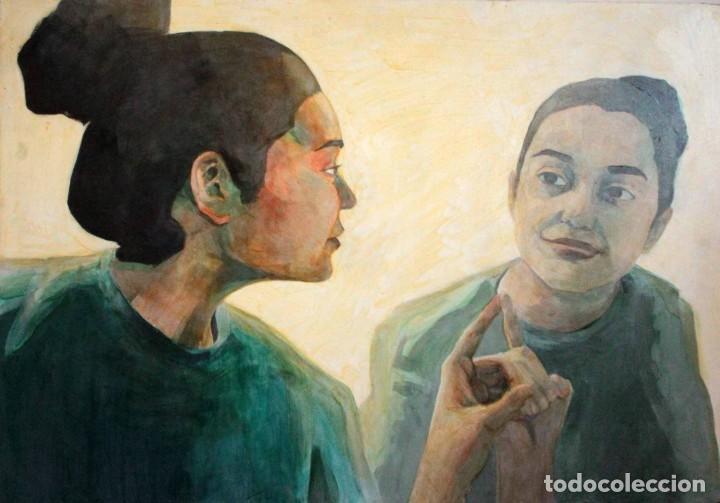 REFLEJO DE MUJER. OLEO SOBRE TABLA. 81X56CM. BUENA CALIDAD. (Arte - Pintura - Pintura al Óleo Contemporánea )
