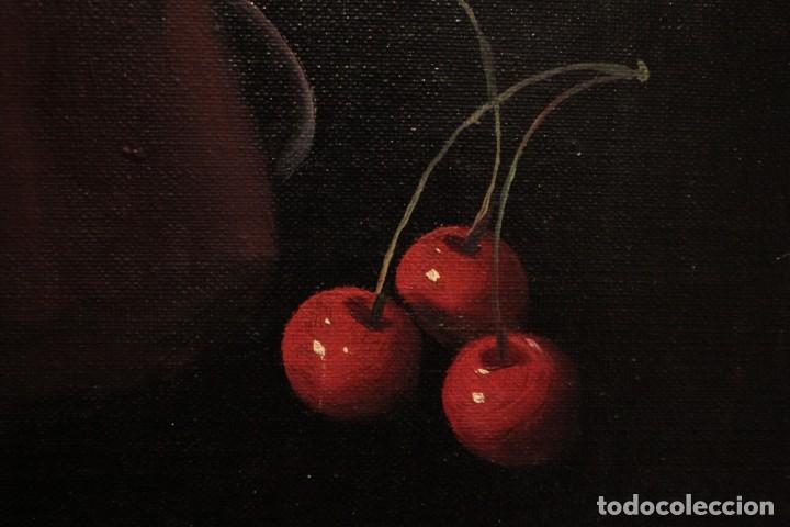 Arte: Soler. Oleo sobre lienzo. Bodegón de cerezas y caldera. Firmado y enmarcado. 53x45cm - Foto 5 - 243382085